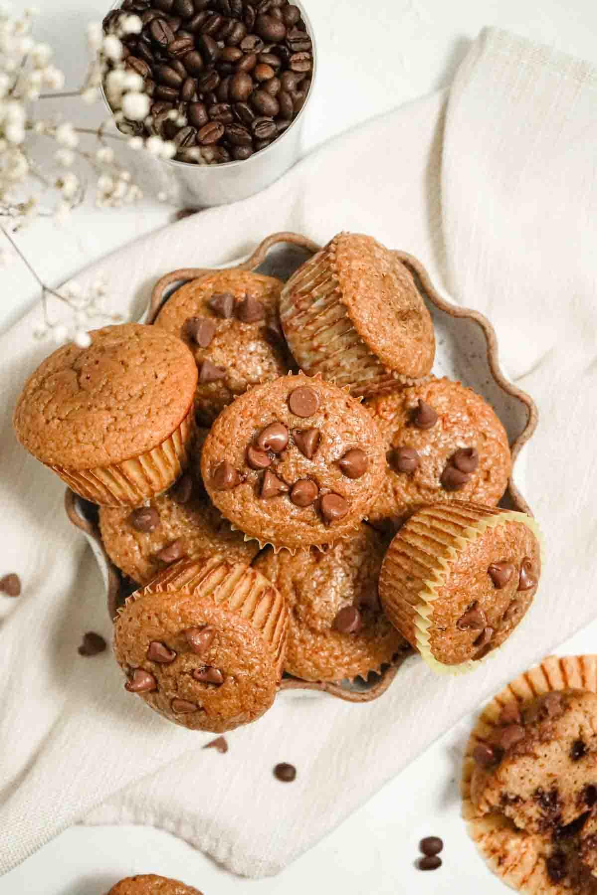 espresso chocolate chip protein muffins