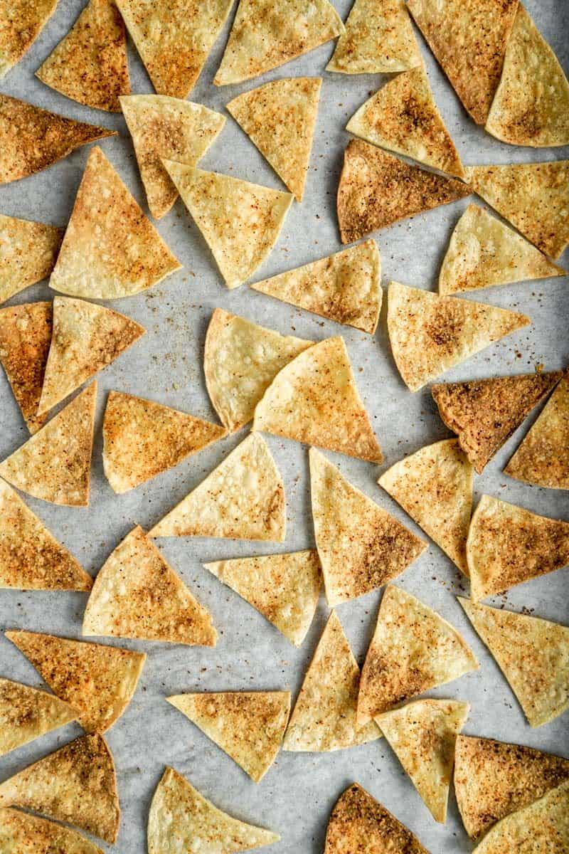 baking sheet with baked tortilla chips